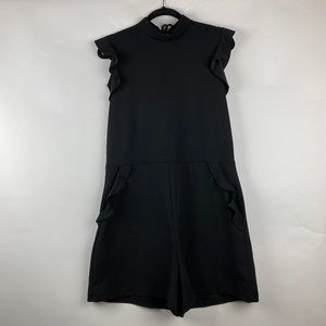 ZARA Ruffle Sleeve Short Romper Open Back - Black